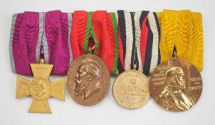 Bayern: Ordenschnalle mit 4 Auszeichnungen.1.) Luitpoldkreuz für 40 Dienstjahre im Staats- und
