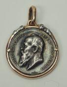 Bayern: Erinnerungsmedaille des Prinzregenten Ludwig 1908.Silber, in Fassung aus Gold, diese mit 4