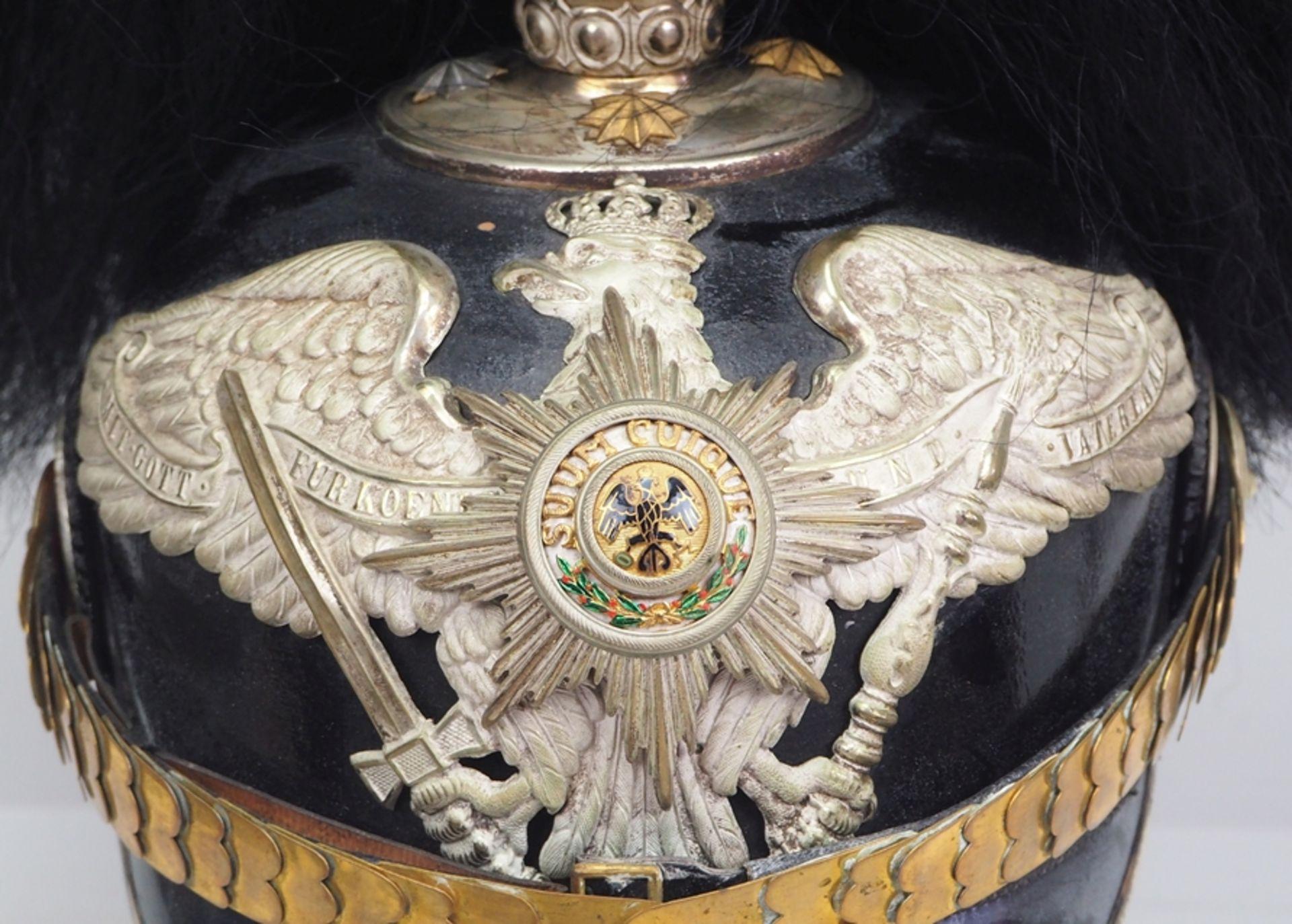 Preussen: Garde-Pionier-Bataillon, Helm für Offiziere mit Paradebusch. - Bild 2 aus 5