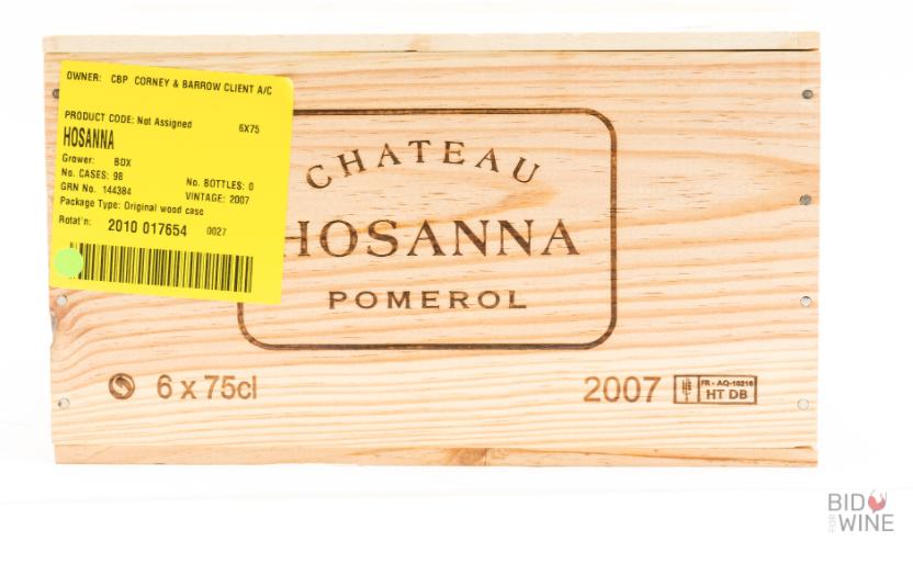 Lot 20 - 2007 Chateau Hosanna, 6 bottles of 75cl, OWC