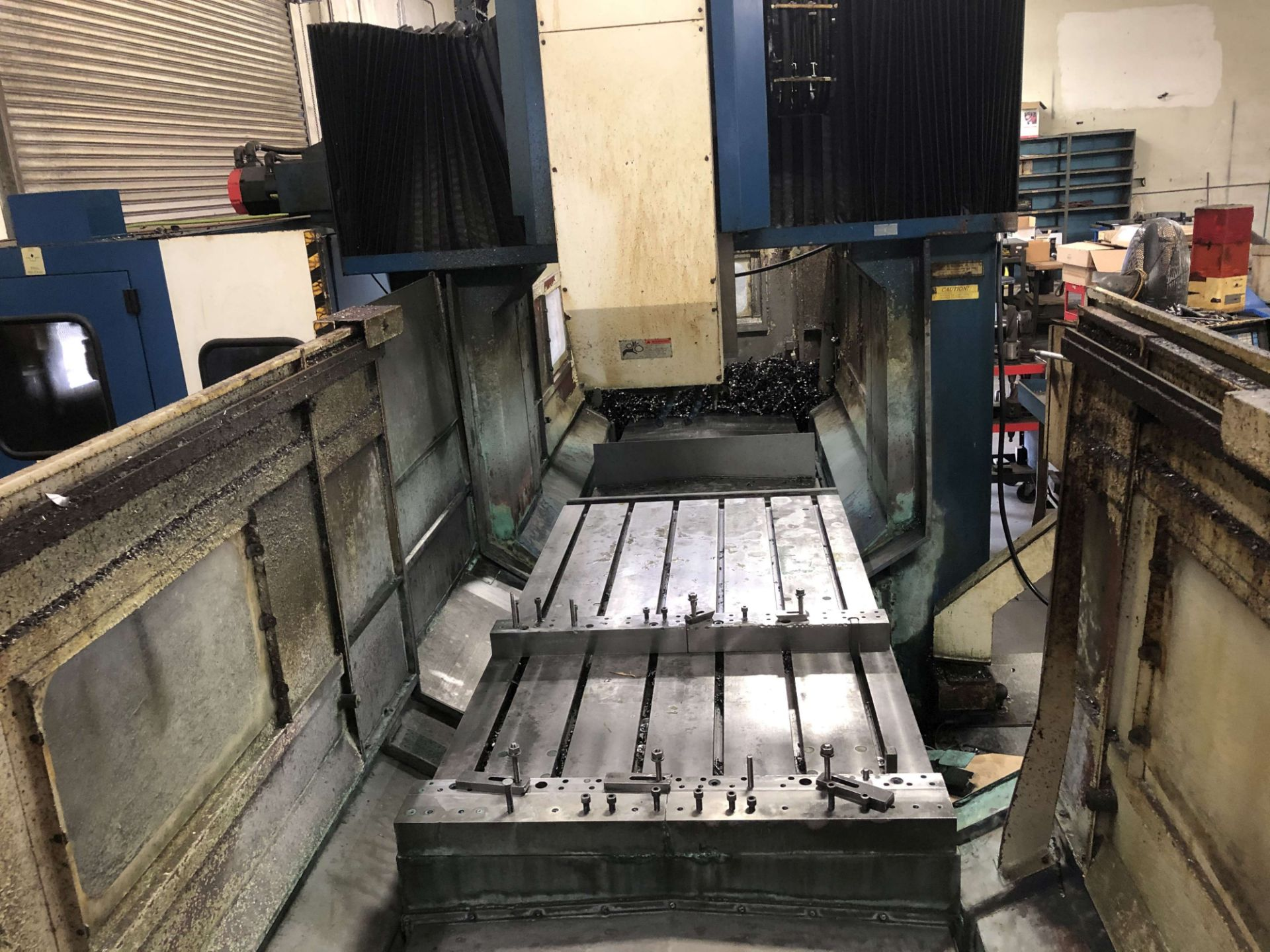 "Lot 38 - 1994 AWEA CNC Double Column Vertical Machining Center, Model PB2110, X=83.1"", Y=43.3"", Z=19.7"", 43-"