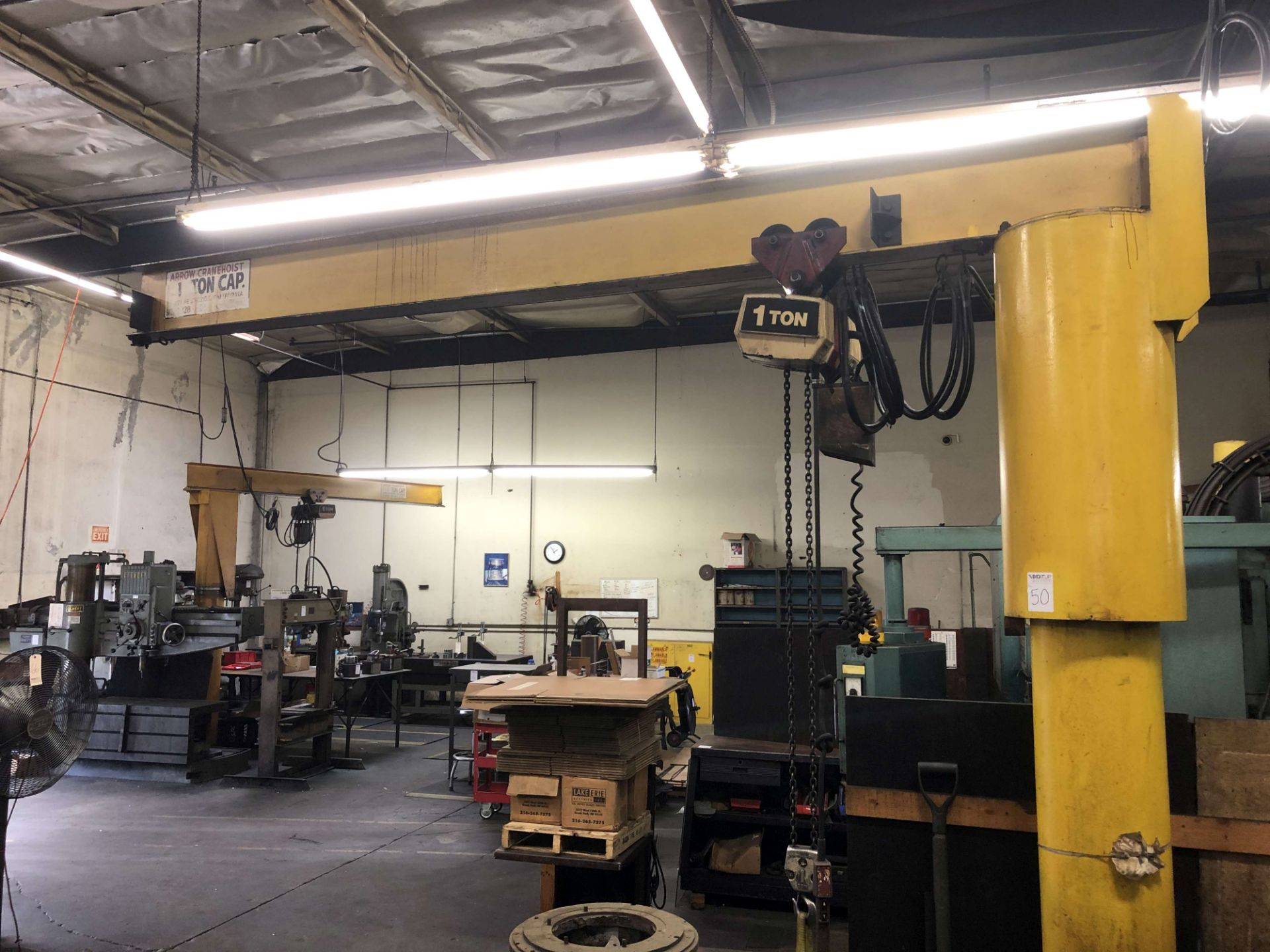 Lot 50 - 1-Ton Capacity Arrow Cranehoist Jib Crane (12' Arm x 10' High), w/ Coffing 1-Ton Hoist, Pendant
