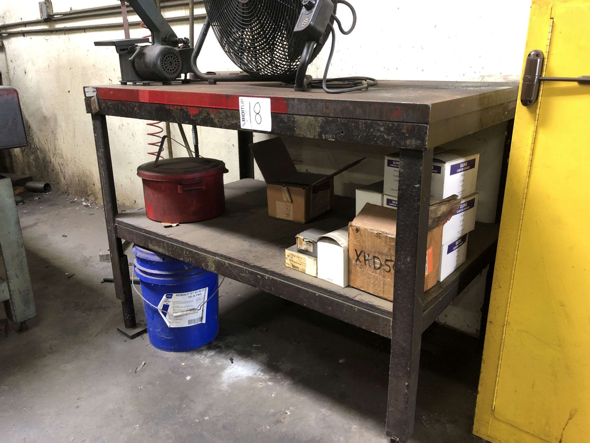 "Lot 18 - Metal Table (4' W x 30"" D x 44-1/4"" High); Comes w/ Contents (EXCLUDES LOT 17)"