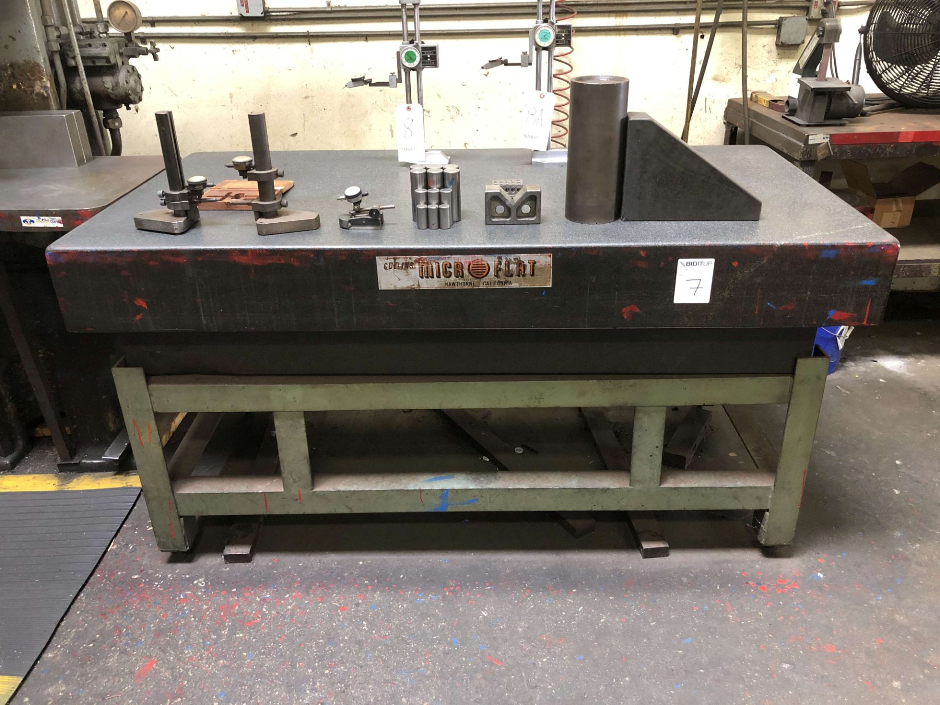"""Lot 7 - Collins Microflat Granite Surface Plate (3' x 6' x 8"""" Thick) w/ Stand; Comes w/ Various Inspection"""