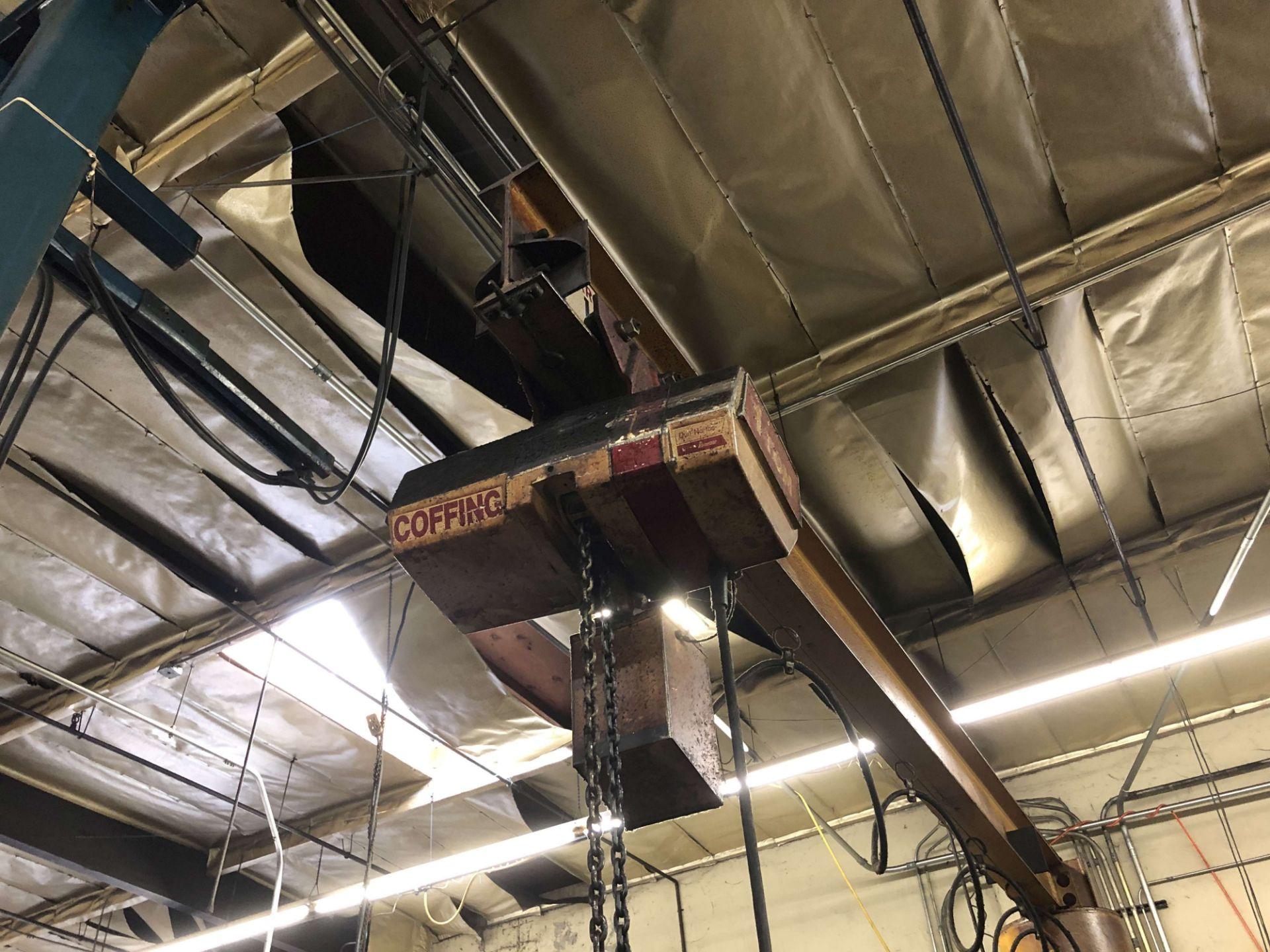 "Lot 49 - 1-Ton Capacity Arrow Cranehoist Jib Crane (12' Arm x 11'-6"" High), w/ Coffing 1-Ton Hoist, Pendant"