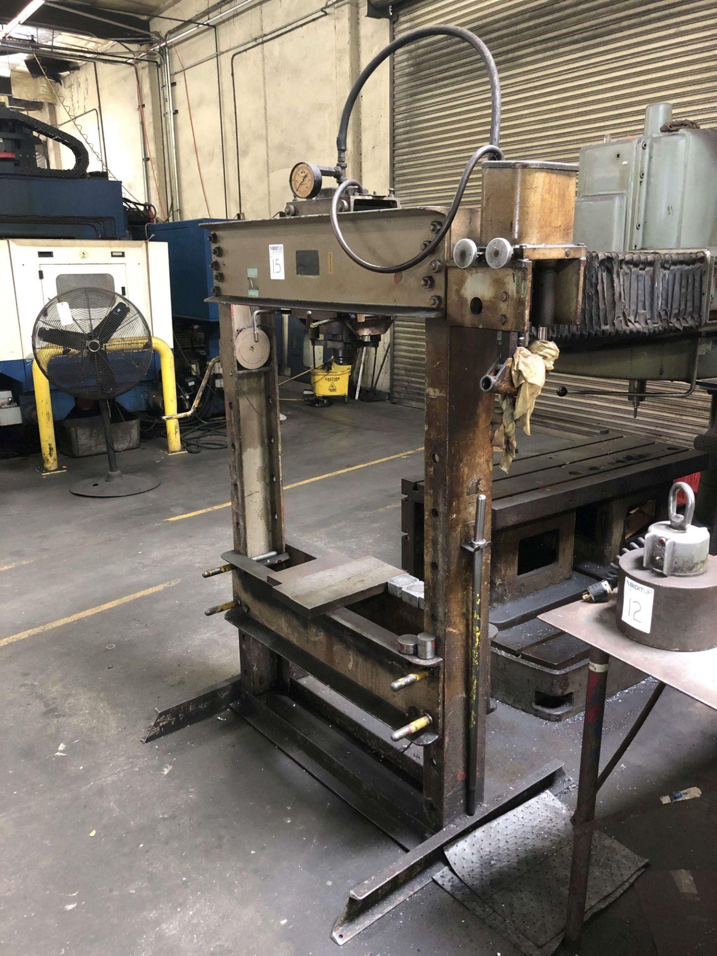 "Lot 15 - F.A. Nugier 60 Ton H-Frame Hydraulic Press, Model H60, 36"" Width Between Uprights, S/N 151122"