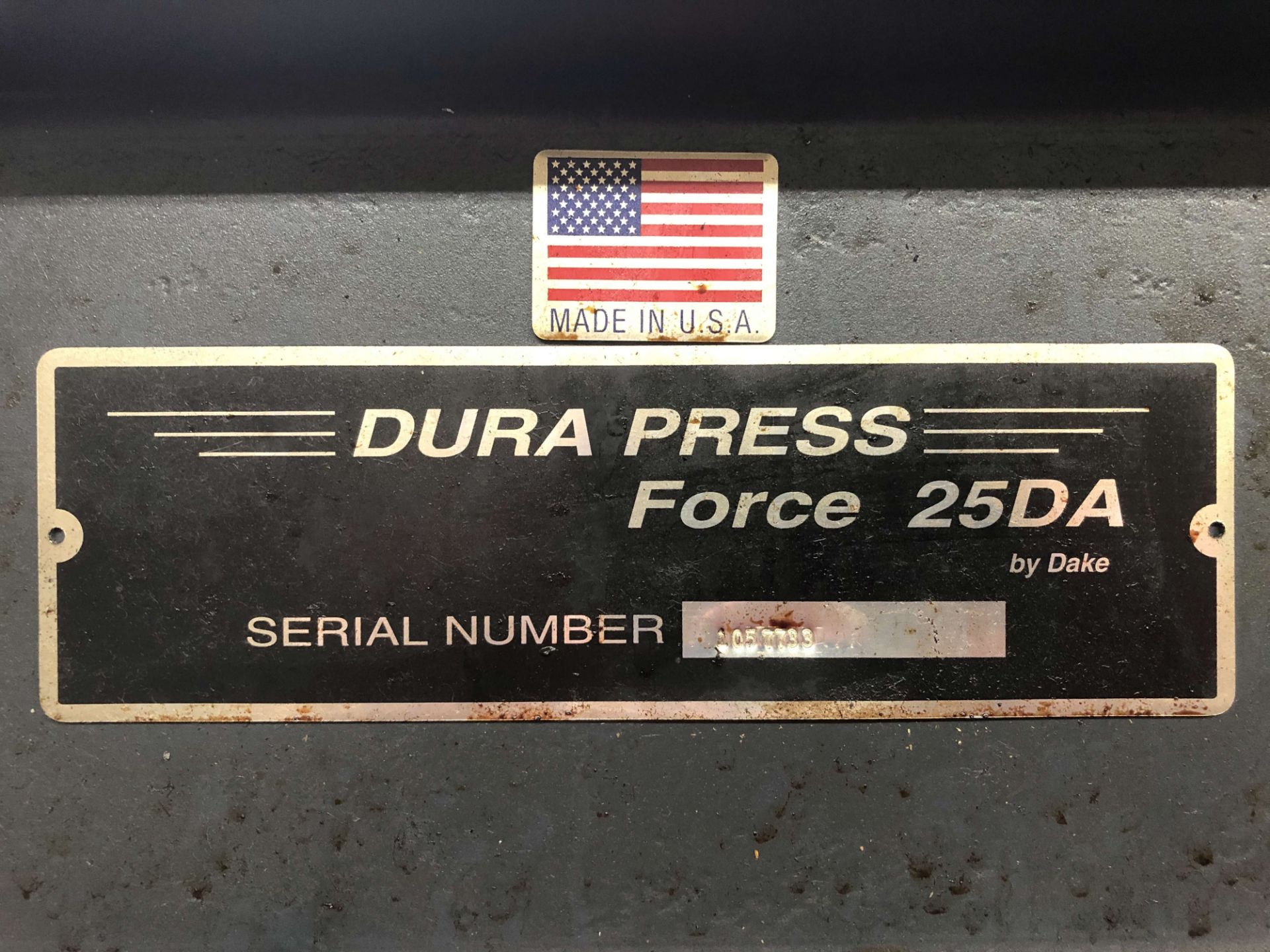 "Lot 31 - Dake 25 Ton H-Frame Hydraulic Press, Model Dura Press Force 25DA, 28"" Width Between Uprights, S/N"