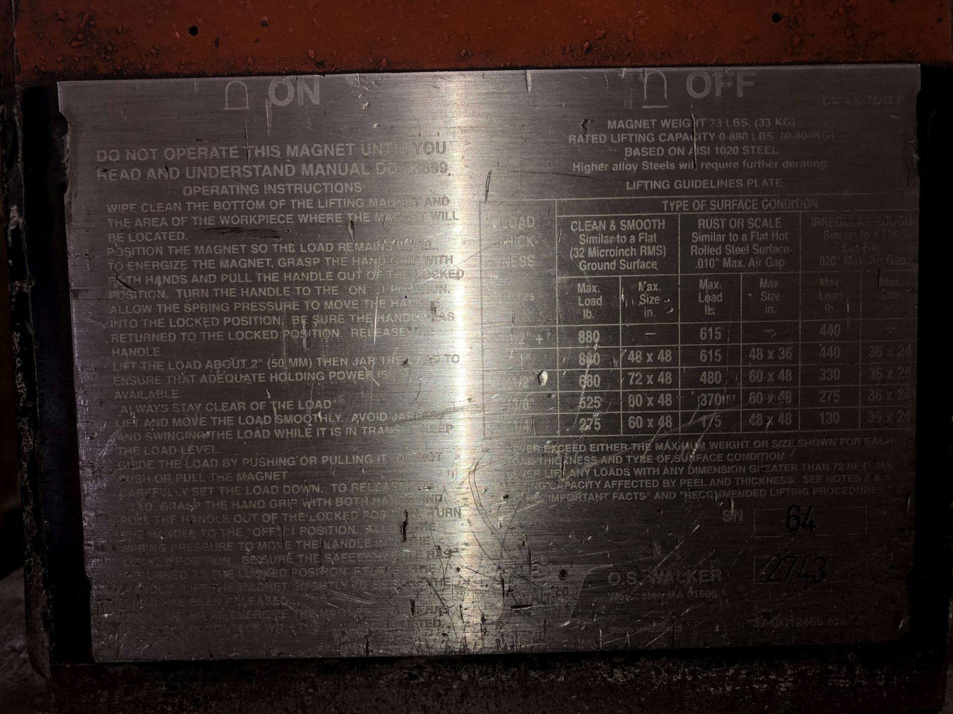 Lot 56 - OS Walker CM-400 Toter Permanent Lift Magnet, Rated Lift Capacity: 0-880 Lbs, Magnet Weight: 73