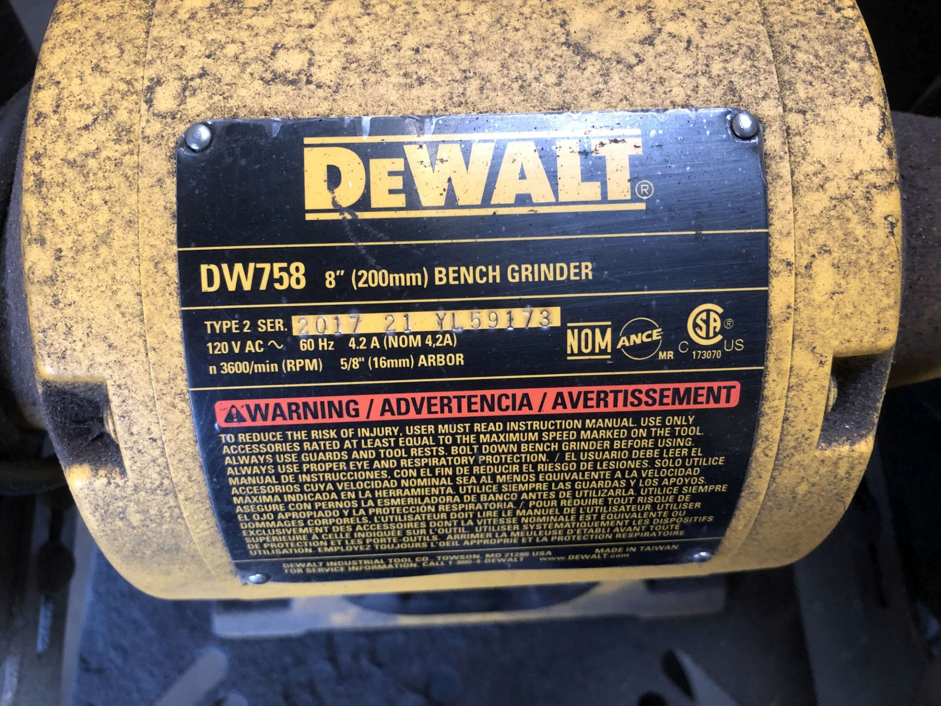 "Lot 46 - DeWalt 8"" Bench Grinder w/ Pedestal, Model DW758"
