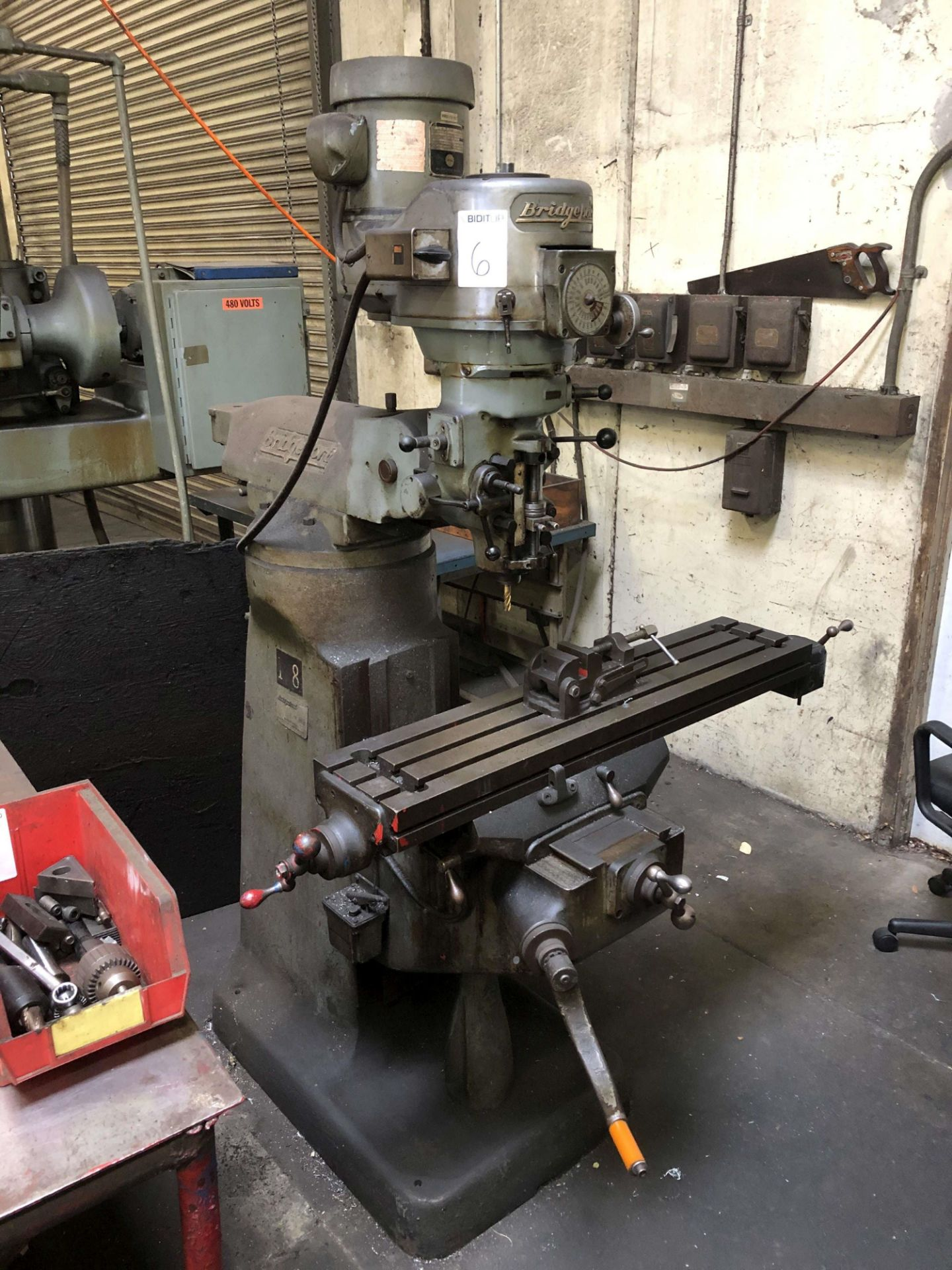"Lot 6 - Bridgeport Vertical Mill, 9"" x 42"" Table, 60 to 4200 RPM, 1.5 HP, S/N 169145; Comes w/ 3"" Machine"