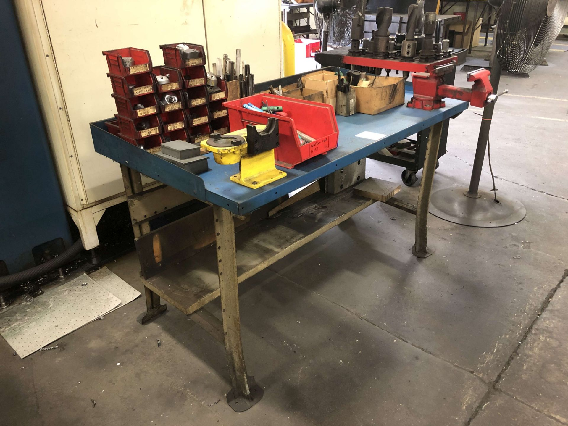 """Lot 40 - Metal Table (5' W x 34"""" D x 34"""" High) w/ Wilton 5"""" Vise; Comes w/ All Contents"""