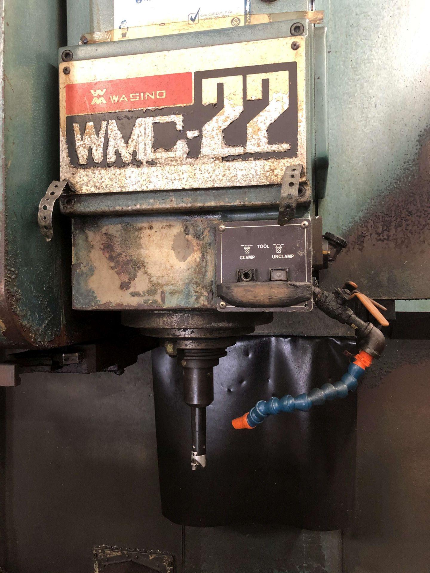 """Lot 37 - Wasino WMC-22 Vertical Machining Center, X=40"""", Y=25"""", Z=22"""", 22"""" x 47"""" Table, 24 ATC, Fanuc"""