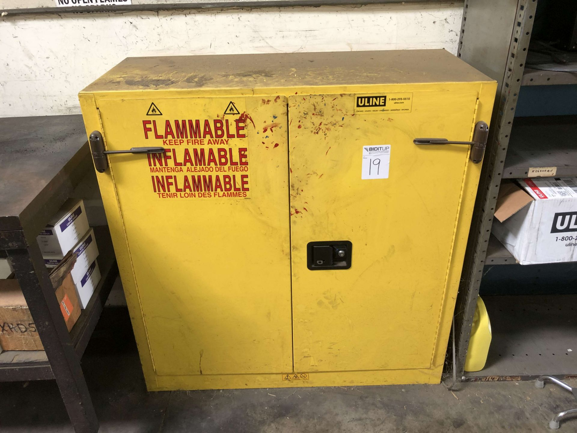 "Lot 19 - Justrite Sure-Grip EX Flammable Liquid Safety Storage Cabinet (43"" W x 18"" D x 44-1/4"" High), Part"