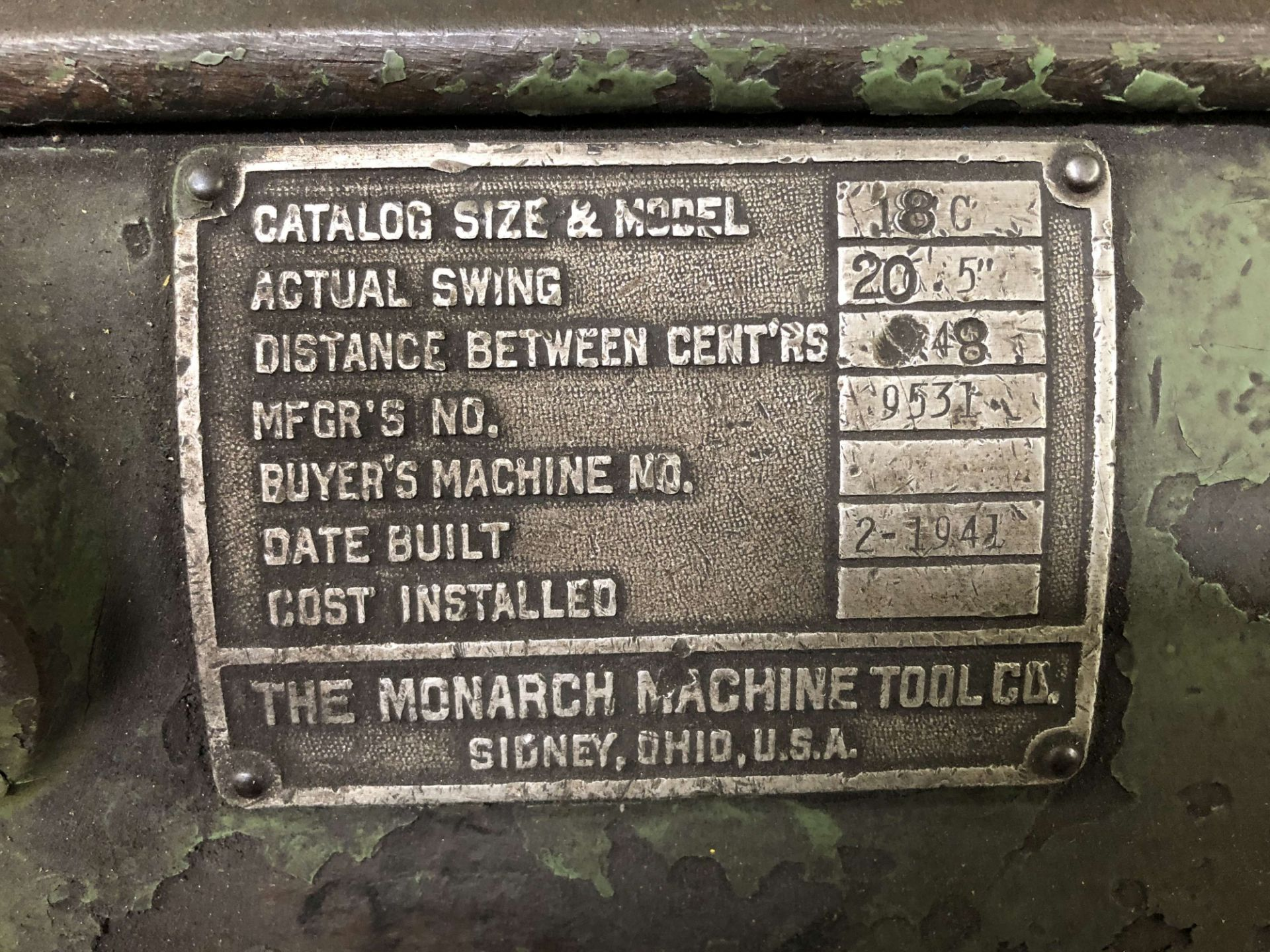 """Lot 26 - 20.5"""" x 48"""" Monarch Lathe, Model 18C, 16 to 650 RPM, 1-1/2"""" Hole Through Spindle, 10"""" 3-Jaw Chuck,"""