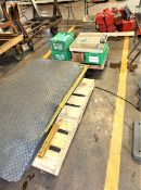 (4) Pallets With Mats, Bins, And Toolboxes