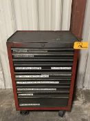 9-Drawer Rolling Toolbox 18'' x 27'' 40'' w/ contents of Assorted Wrenches, Nuts, Bolts