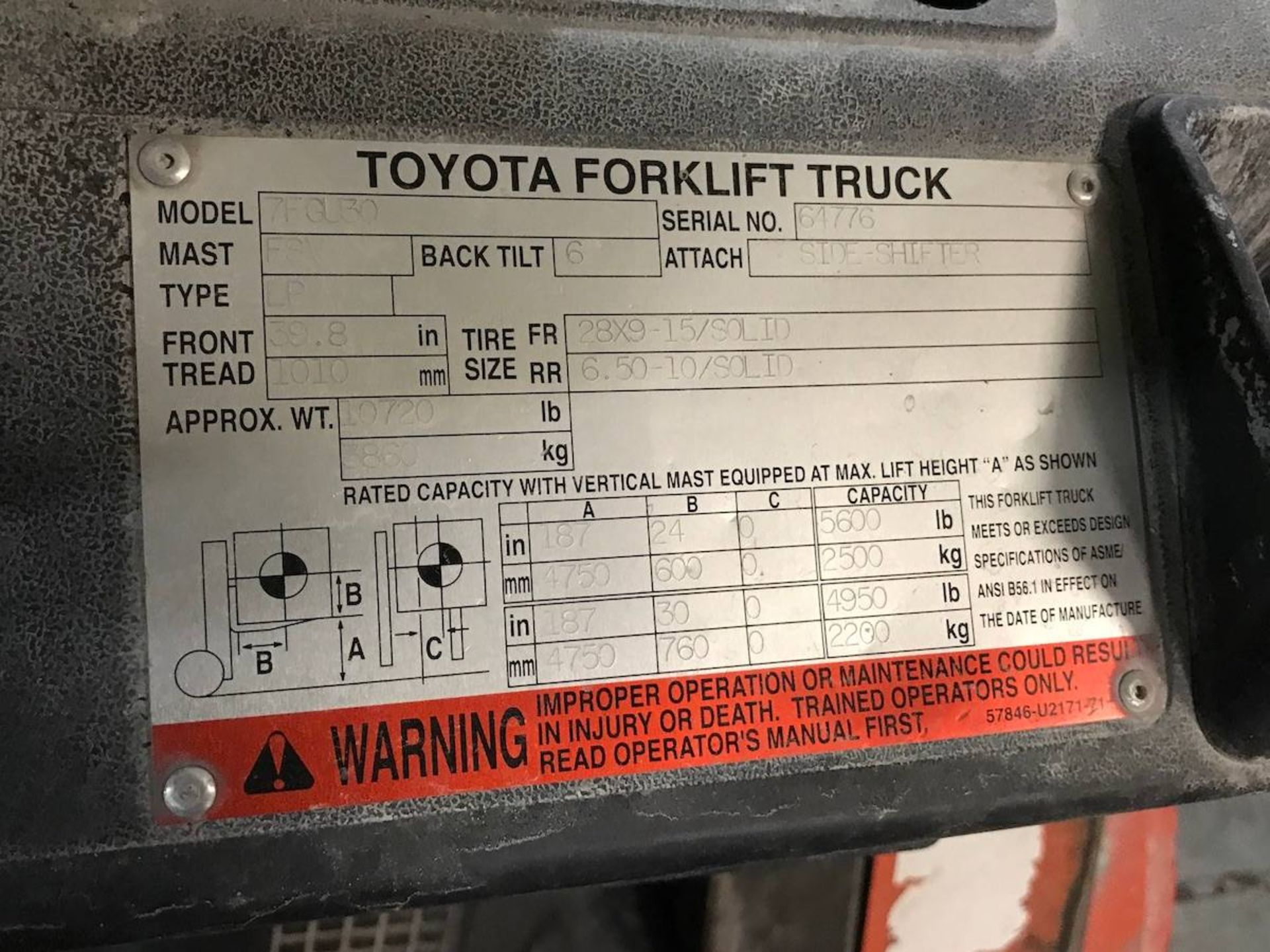 Toyota 7FGU30 Forklift Truck - Image 6 of 6