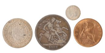 Victoria (1837-1901) to include an 1889 Crown, 1901 Half Crown, 1900 One Penny and a George V