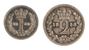 Victoria Maundy money (1837-1901) to include an 1856 One Pence and Two Pence, (2)