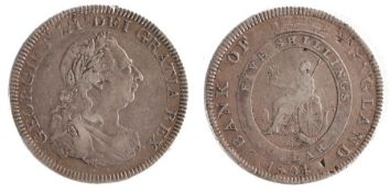 George III Dollar (1760-1820) over-strike with original Charles IV 8 Reales showing through,