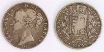 Victoria Crown, (1837-1901) 1845, Young head, shield reverse