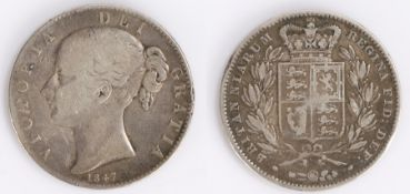 Victoria Crown (1837-1901) 1847, Young head, shield reverse
