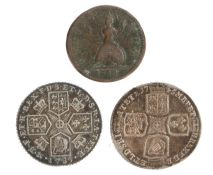 George II Shilling, 1745, Lima (S. 3703) together with a George III Farthing 1754 (S. 3722) and a