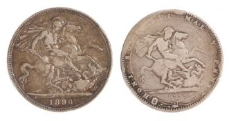 George III Crown, 1820, St George and the Dragon, together with a Victoria Crown 1890, St George and