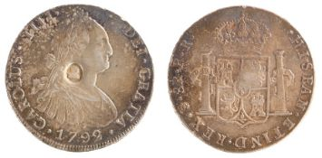 Dollar George III Countermarked oval stamp on Bolivia (Potosi) 8 Reales 1792