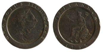 George III Two Pence, (1760-1820) 1797 'Cartwheel' (S. 3776)