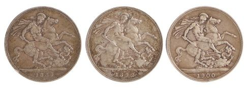 Victoria (1837-1901) three Crowns, 1889, 1892 and 1900, (3)