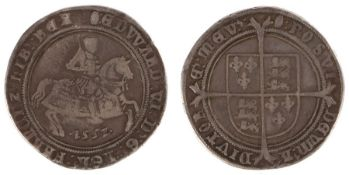 Edward VI Crown (1547-1553) Third period, 1551, King on horseback (S. 2478)