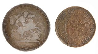 George III Crown (1760-1820) together with what appears to be a contemporary copy of a George III