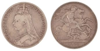 Victoria Wide Date Crown (1837 - 1901), 1888 Wide Date, Rare variety (S. 3921)