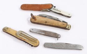 Collection of five penknives, to include a bone handled example, horn handled two steel and a