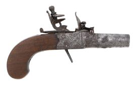 18th/19th Century flintlock box lock pocket pistol with screw off barrel, signed ' Busby' to the