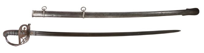 Victorian 1827 pattern Rifle Officers sword, blade etched with crowned strung bugle with