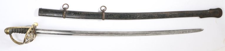 Victorian 1822 pattern Infantry NCO's sword with slightly curved fullered blade, inspection mark