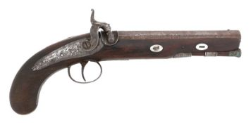 19th Century British overcoat percussion pistol, engraved lock marked ' R.Bolton ', octagonal barrel
