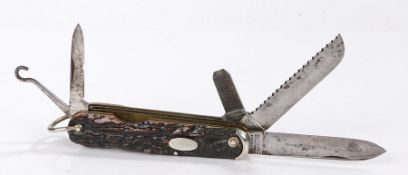 Stag antler pocket knife by Southern & Richardson, Sheffield, marked ' Nest Knife ' to the blade