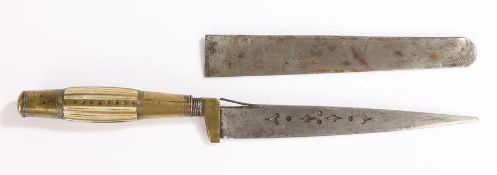 19th Century Spanish Albacete Dagger, single edged blade pierced and engraved, brass and bone hilt
