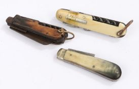 Collection of pocket knives, to include a 19th Century ivory handled example and two horn