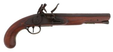18th Century officers flintlock pistol by E. Baker, makers name on lock and barrel, proof marks to
