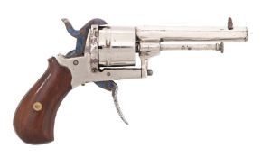 19th Century nickel plated pin fire pocket revolver, 8 mm calibre, 6 round cylinder, hexagonal