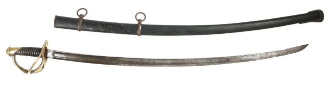 French 1822 Light Cavalry Sword, curved fullered blade, brass guard and pommel cap both stamped '