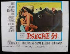 Psyche 59 (1964) - British Quad film poster, starring Patricia Neal and Curt Jurgens, folded, 30""