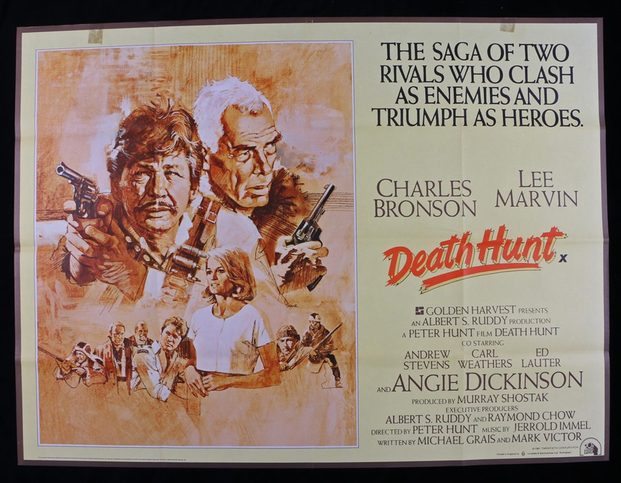 Lot 14 - Death Hunt (1981) - British Quad film poster, designed by John Solie, starring Charles Bronson and