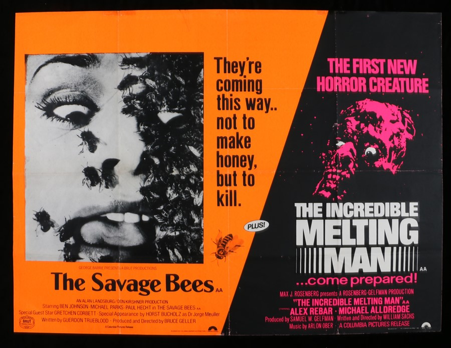 Lot 40 - The Savage Bees (1976) & The Incredible Melting Man (1977) - British Quad double-bill poster,