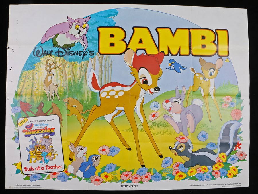 Lot 6 - Walt Disney's Bambi (1985 release) - two British Quad film posters, printed in England by W.E. Berry