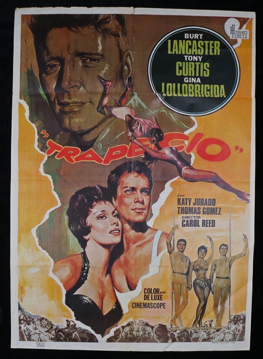 "Lot 60 - Trapeze (1956) - one sheet film poster, ""Trapecio"" Spanish edition, starring Burt Lancaster and Tony"